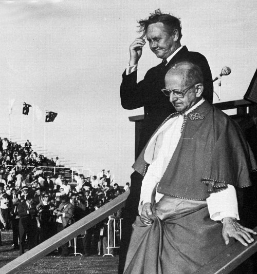 Pope Paul VI with Prime Minister John Gorton on First Papal Visit to Australia, 1970