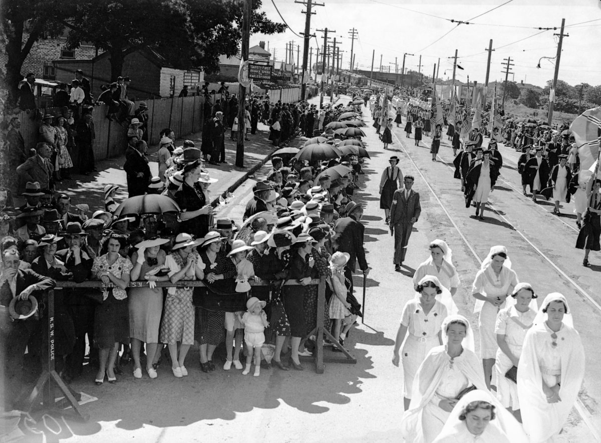 Catholic Church members in procession at Newcastle NSW during the 1938 Eucharistic Congress