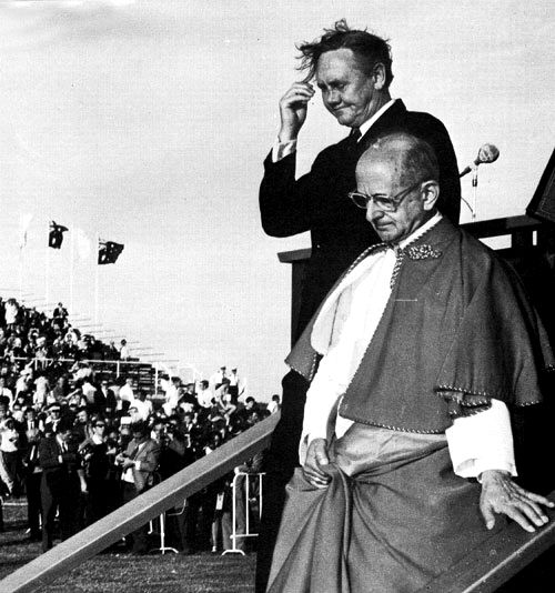 Pope Paul VI with Prime Minister John Gorton on first papal visit to Australia 1970